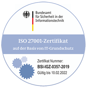 ISO 27001 Certificate on the Basis of IT baseline protection issued by the German BSI for Global Access